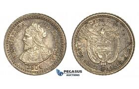 U77, Panama, 2-1/2 Centesimos 1904, Silver, Toned High Grade!