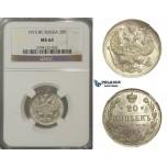 U79, Russia, Nicholas II, 20 Kopeks 1915 (BC) St. Petersburg, Silver, NGC MS64