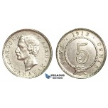 U82, Sarawak, C. Brooke Rajah, 5 Cents 1913-H, Heaton, Silver, High Grade (Cleaned)