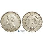 U83, Sarawak, C. Brooke Rajah, 10 Cents 1900-H, Heaton, Silver, High Grade (Lightly Cleaned)
