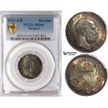 U86, Hungary, Franz Joseph, Korona 1892-KB, Kremnitz, Silver, PCGS MS64, Rare Date!