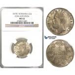 U87, Romania, Carol I, 1 Leu 1870, Bucharest, Silver, NGC MS62, Rare!