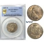 U88, Romania, Carol I, 1 Leu 1885, Bucharest, Silver, PCGS MS62+, Rare!