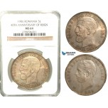 U91, Romania, Carol I, 5 Lei 1906 (40th Anniversary) Brussels, Silver, NGC MS64