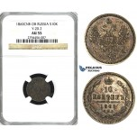 U92, Russia, Alexander II, 10 Kopeks 1860 СПБ-ФБ, St. Petersburg, Silver, NGC AU55 (Multicolor toning)