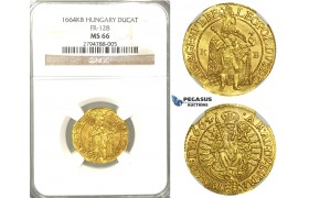 U98, Hungary, Leopold I, Ducat 1664 K-B, Kremnitz, Gold (3.56g) NGC MS66 (Pop 1/1, Finest known) Very rare so nice!