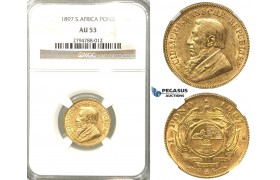 V01, South Africa (ZAR) Pond 1897, Gold, NGC AU53