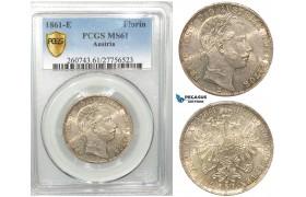 V08, Austria, Franz Joseph, Florin (Gulden) 1861-E, Karlsburg, Silver, PCGS MS61, Rare!
