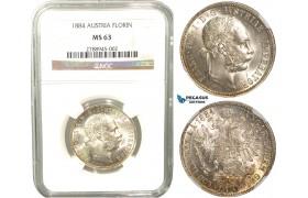 V08X, Austria, Franz Joseph, Florin (Gulden) 1884, Silver, NGC MS63