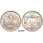 V10, Austria, Franz Joseph, 20 Heller 1892, UNC! Rare so Nice!