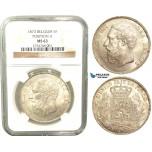 V11, Belgium, Leopold II, 5 Francs 1873 (Pos A) Silver, NGC MS63