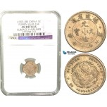 V24, China, Fukien, 3.6 Candareens (5 Cents) 1898, Silver, L&M 294, NGC AU