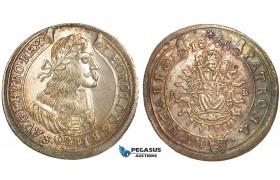 V35, Hungary, Leopold, 15 Krajczar 1665-KB, Kremnitz, Silver, Rainbow toned High Grade!