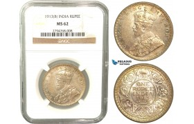 V37, India (British) George V, Rupee 1913-B, Bombay, Silver, NGC MS62