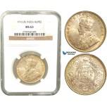 V38, India (British) George V, Rupee 1916-B, Bombay, Silver, NGC MS63