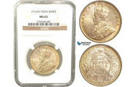 V38, India (British) George V, Rupee 1916-B, Bombay, Silver, NGC MS63