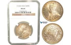 V39, India (British) George V, Rupee 1918-B, Bombay, Silver, NGC MS64