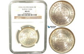 V40, India, Kutch, 5 Kori 1933/ VS1990, Silver, NGC MS65