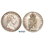 V42X, Italy, Lombardy, Francisc I, 1/2 Lira 1822-A, Vienna, Silver, gVF-XF, Rare!
