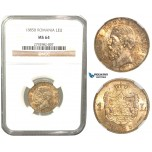V44, Romania, Carol I, 1 Leu 1885-B, Bucharest, Silver, NGC MS64, Golden toning! Very Rare Grade!