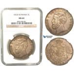 V46, Romania, Carol I, 5 Lei 1883-B, Bucharest, Silver, NGC MS64, Rare Grade!