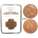 V53, Straits Settlements, Victoria, Cent 1873, NGC XF40BN