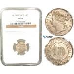 V54, Straits Settlements, Victoria, 10 Cents 1879-H, Heaton, Silver,  NGC AU58