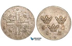 V56, Sweden, Fredrik I, 5 Öre 1731/0 SM/GZ, Stockholm, Silver, EF