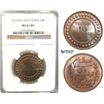 V57, Tunisia, 10 Centimes 1907-A, Paris, NGC MS65BN