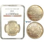 V58, Tunisia, 20 Francs AH1353/1934, Paris, Silver, NGC MS65