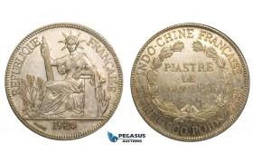 V61, French Indo-China, Piastre 1926-A, Paris, Silver, Partly toned High Grade!