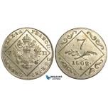 V68, Austria, Francisc II, 7 Kreuzer 1802-A, Vienna, Silver, UNC