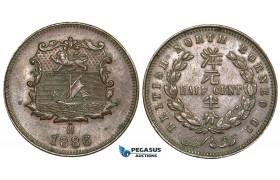 V69, British North Borneo, 1/2 Cent 1886-H, Heaton, High Grade