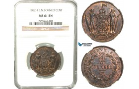 W13, British North Borneo, 1 Cent 1882-H, Heaton, NGC MS61