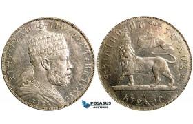 W18, Ethiopia, Menelik II, Birr EE 1887-A, Paris, Silver, Cleaned High Grade!