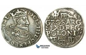 W184, Poland, Sigismund III, 6 Groschen (Szóstak) 1596 H/R S/C I/F, Bydgoszcz (Bromberg) Silver (4.39g) Extremely Rare!