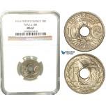 W20, France, Third Republic, Piefort Essai 10 Centimes 1914, Paris, Nickel, Maz. 2188, NGC MS67 (Pop 1/1, Finest) Rare!