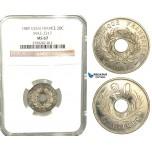 W22, France, Third Republic, Essai 20 Centimes 1889-A/E, Paris, Nickel, Maz. 2317, NGC MS67 (Pop 1/2, No Finer)
