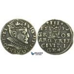 W222, Poland (for Riga) Sigismund III, 3 Groschen (Trojak) 1590, Riga, Silver (2.22g) Rare!