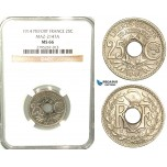 W23, France, Third Republic, Piefort Essai 25 Centimes 1914, Paris, Nickel, Maz. 2147A, NGC MS66, Rare!