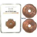 W25, French Indo-China, 1 Centime 1922 (T.Bolt) Huguenin, NGC MS63RB
