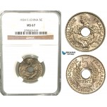 W29, French Indo-China, 5 Centimes 1924, Paris, NGC MS67 (Pop 1/1, Finest)