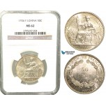 W35, French Indo-China, 50 Centimes 1936, Paris, Silver, NGC MS62