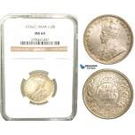 W48, India (British) George V, 1/2 Rupee 1936 (C) Calcutta, Silver, NGC MS65