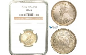 W48, India (British) George V, 1/2 Rupee 1936 (C) Calcutta, Silver, NGC MS65