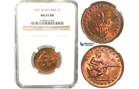 W55, Philippines (US Mandate) 1 Centavo 1927-M, Manila, NGC MS65RB