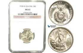 W57, Philippines (US Mandate) 20 Centavos 1938-M, Manila, Silver, NGC MS63