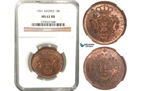 W59, Portugal, Azores, Carlos I, 10 Reis 1901, NGC MS62RB