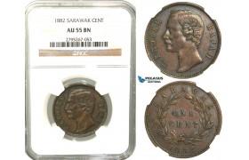 W63, Sarawak, C. Brooke Rajah, 1 Cent 1882-H, Heaton, NGC AU55BN