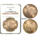 W64, South Africa, George VI, 5 Shillings 1949, Silver, NGC MS64